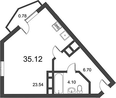 Студия, 36.94 м²