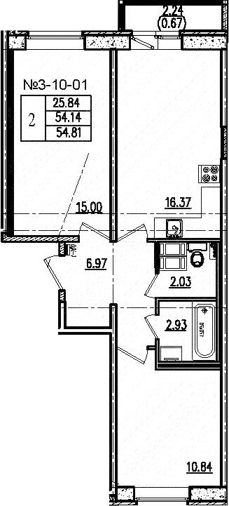 3-к.кв (евро), 56.37 м²
