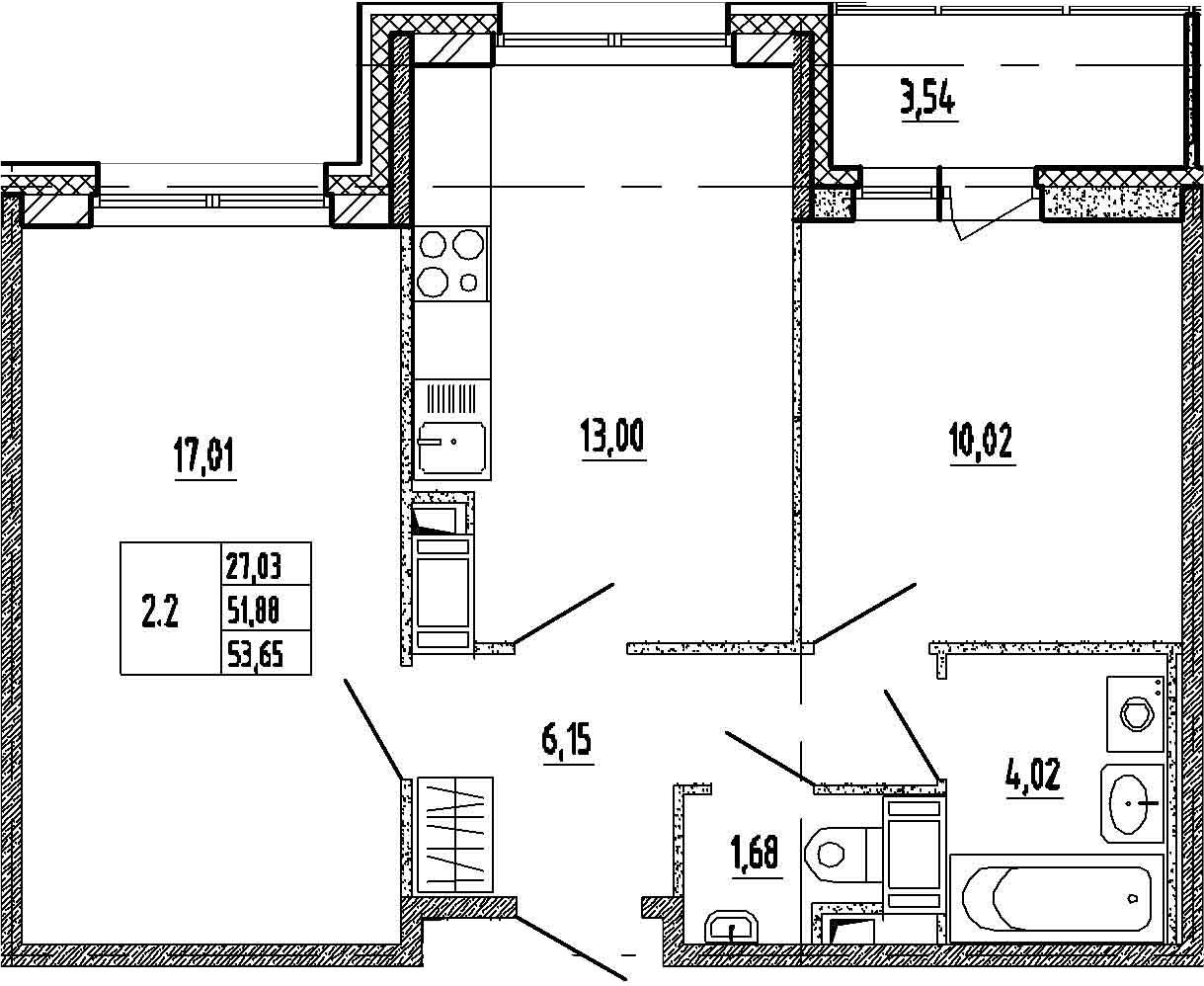 2-к.кв, 51.88 м²