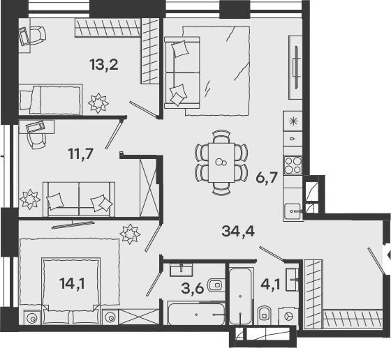4Е-комнатная, 87.8 м²– 2