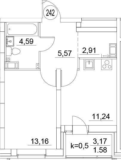 1-к.кв, 39.05 м²