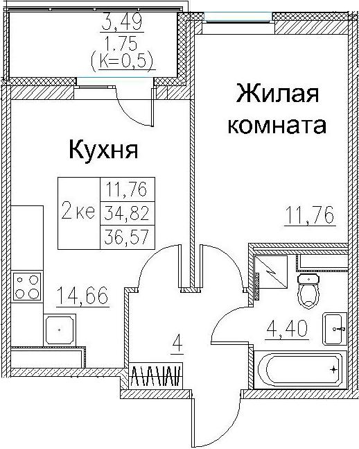 2Е-к.кв, 36.57 м², 2 этаж