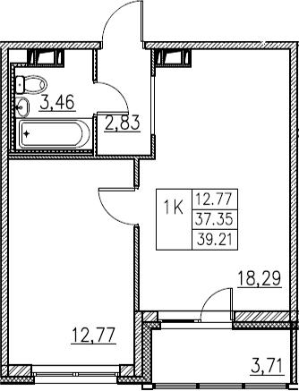 2Е-комнатная, 39.21 м²– 2