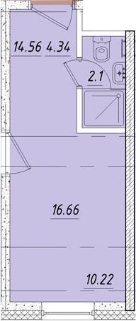 Студия, 16.7 м²– 2