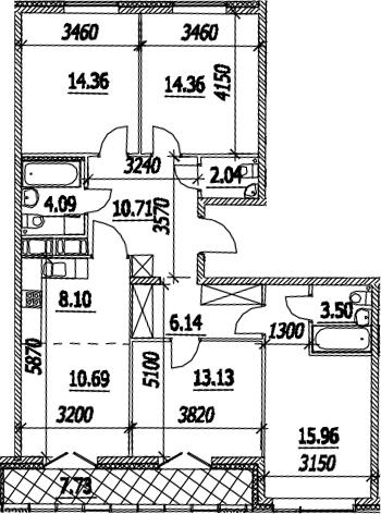 5Е-к.кв, 106.95 м², от 13 этажа