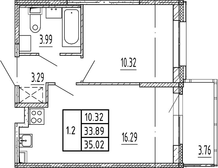 2Е-к.кв, 33.89 м²