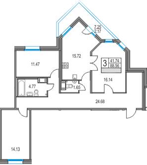 4Е-к.кв, 88.56 м², от 11 этажа