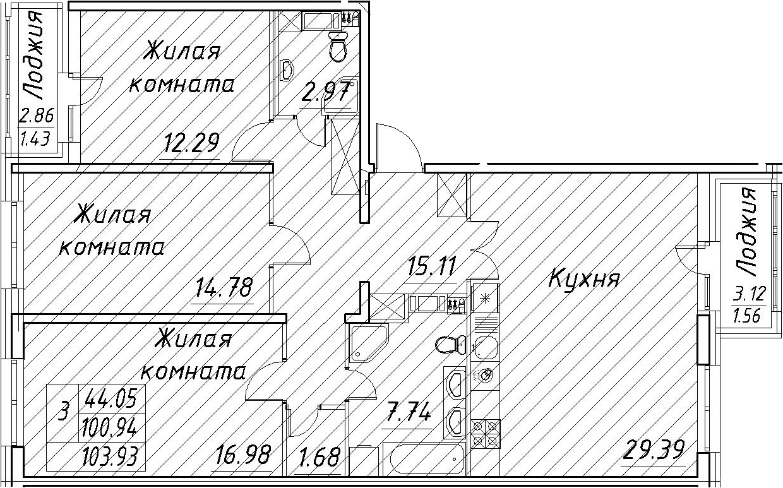 4Е-к.кв, 103.93 м², от 4 этажа