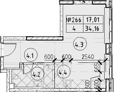 Студия, 34.16 м², 29 этаж