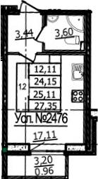 Студия, 27.35 м²