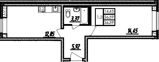 2Е-к.кв, 36.59 м²