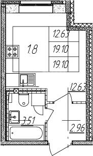 Студия, 19.1 м²