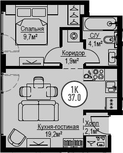 2Е-комнатная, 37 м²– 2