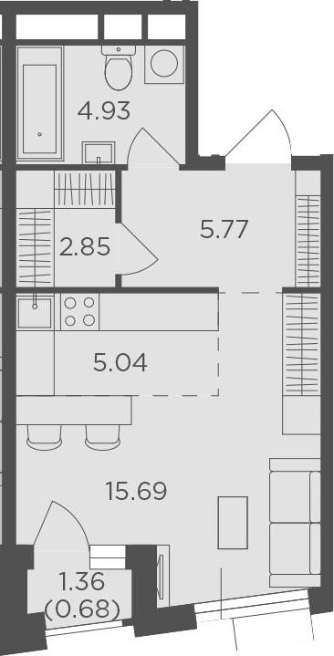 Студия, 34.96 м²– 2