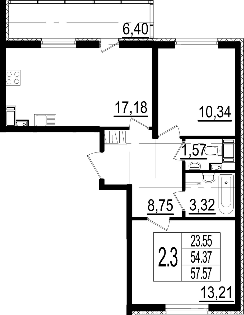 3Е-к.кв, 54.37 м²