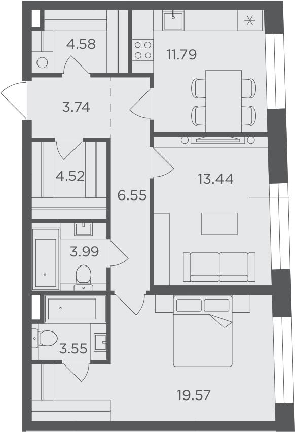 2-к.кв, 71.73 м²