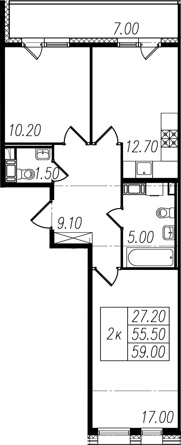2-к.кв, 55.5 м²