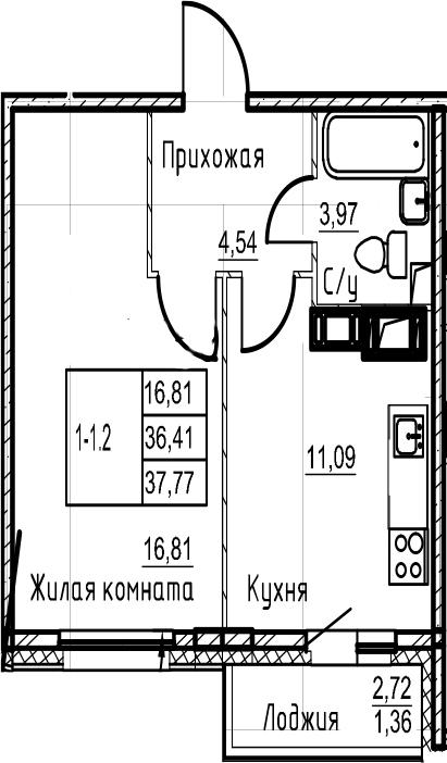 1-комнатная, 37.77 м²– 2