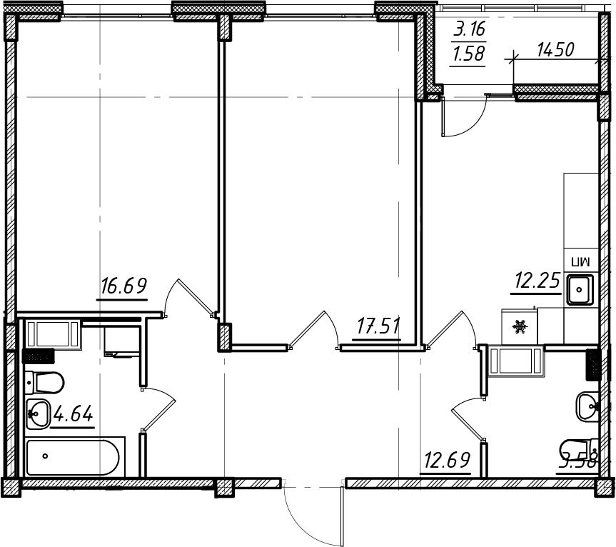 2-комнатная, 68.94 м²– 2
