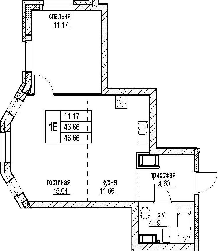 2Е-комнатная, 46.66 м²– 2