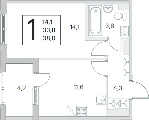 1-комнатная, 33.8 м²– 2