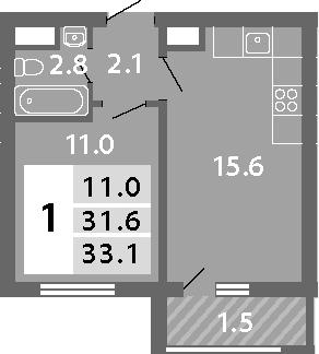 2-к.кв (евро), 34.56 м²