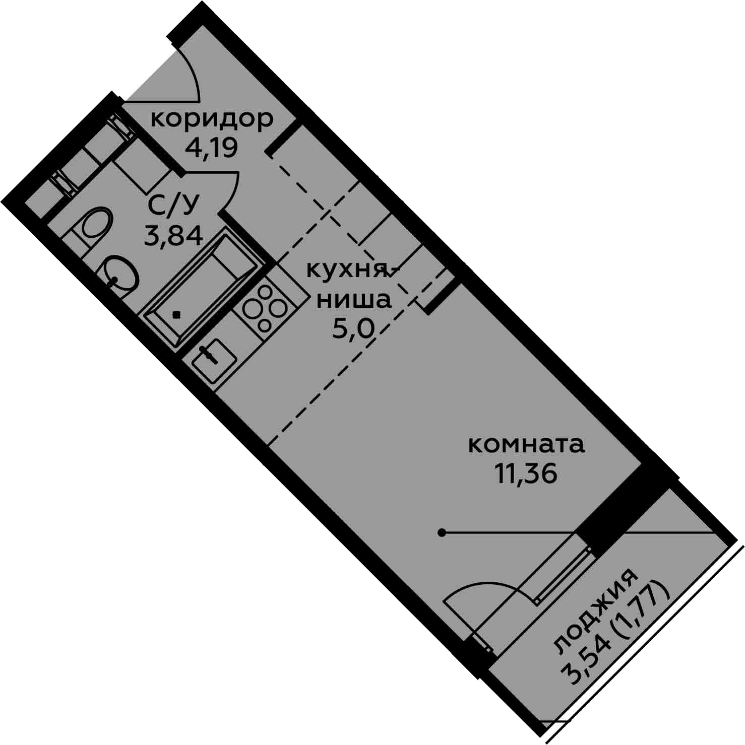 Студия, 26.16 м²– 2