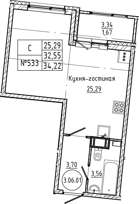 Студия, 34.22 м²– 2