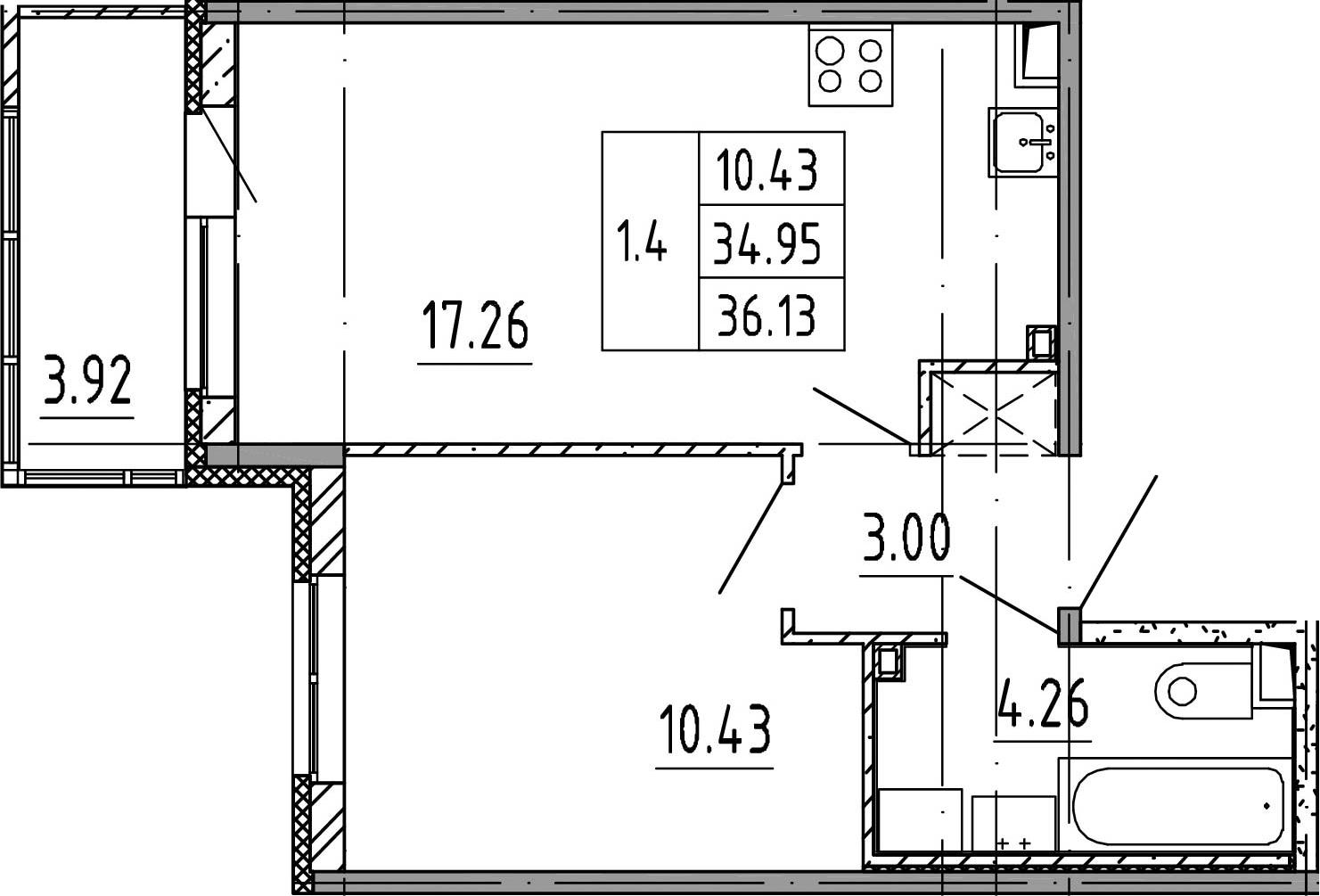 2Е-к.кв, 34.95 м², 3 этаж