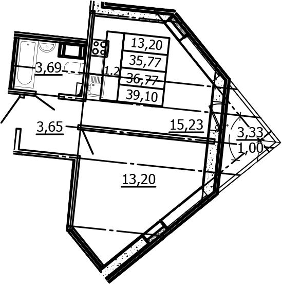 2Е-к.кв, 35.77 м², 2 этаж