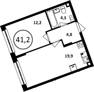2Е-комнатная, 41.2 м²– 2