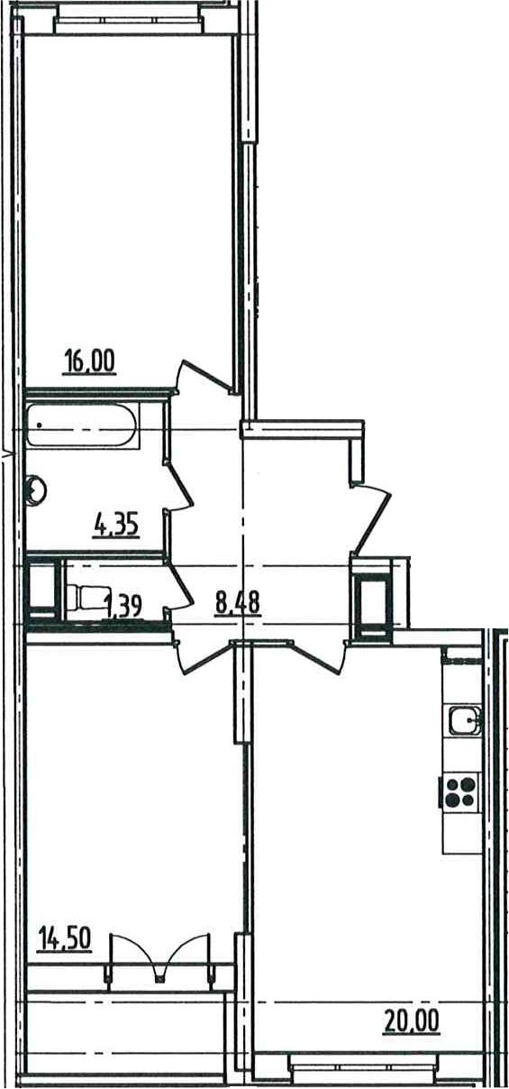 3Е-к.кв, 66.51 м², от 5 этажа