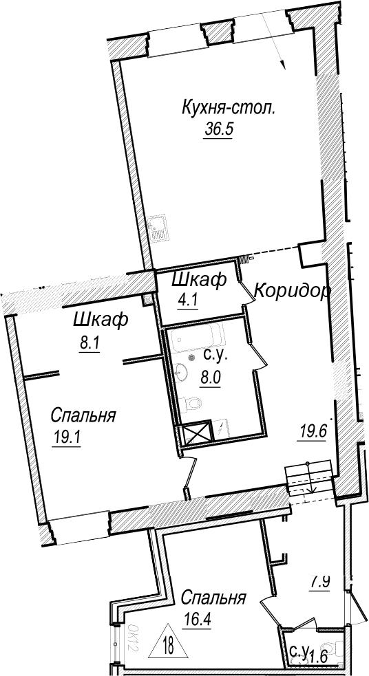 3Е-к.кв, 121.3 м²