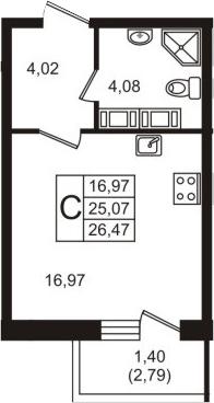 Студия, 26.47 м²– 2