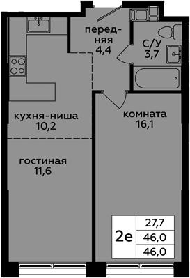 2Е-к.кв, 46 м², 13 этаж
