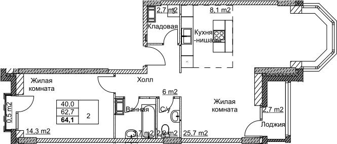 2Е-комнатная, 64.2 м²– 2