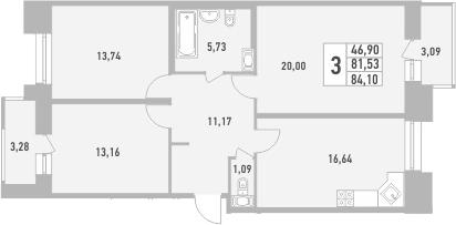 3-к.кв, 84.1 м²