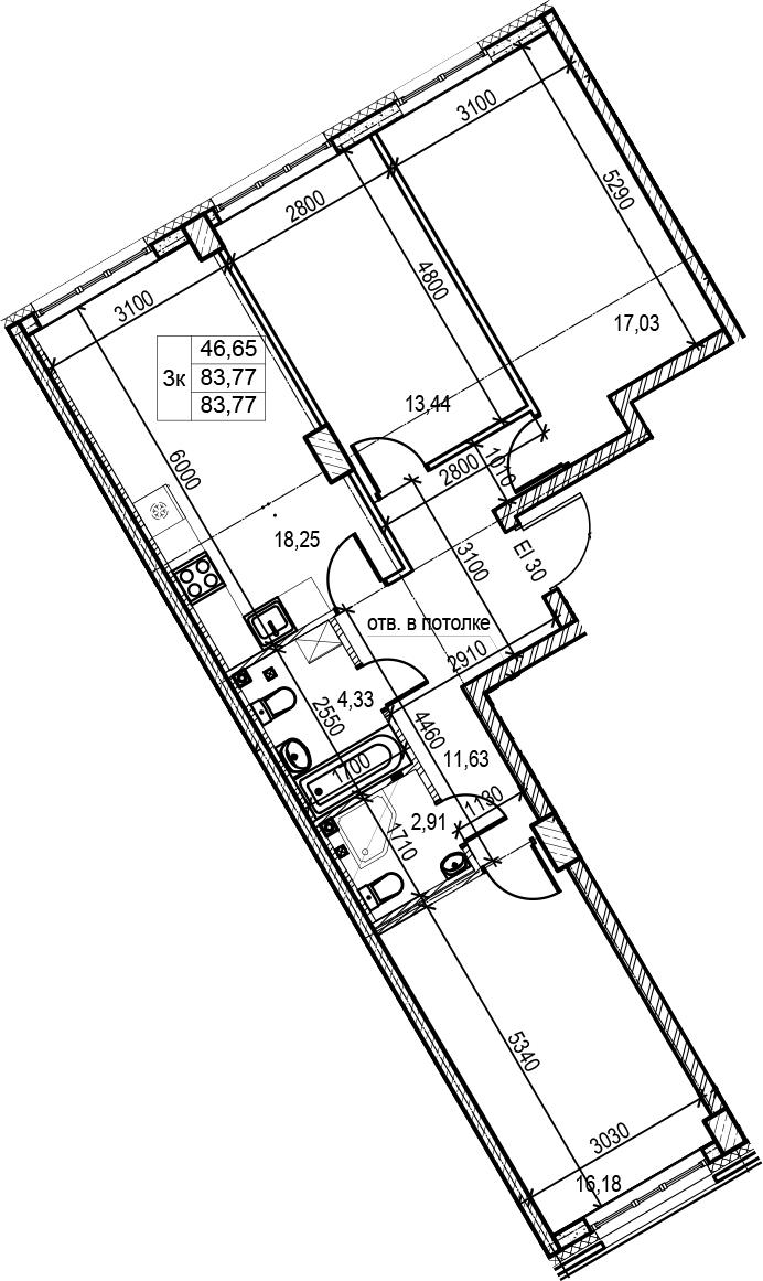 4Е-комнатная, 83.77 м²– 2