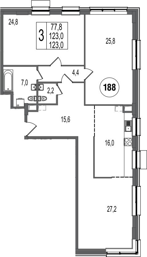 3-к.кв, 123 м²