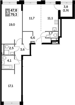 3Е-к.кв, 79.3 м², 22 этаж