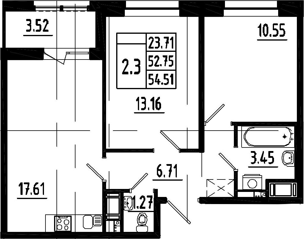 3Е-к.кв, 52.75 м², 12 этаж