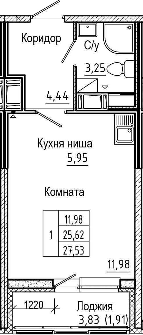 Студия, 27.53 м², от 16 этажа