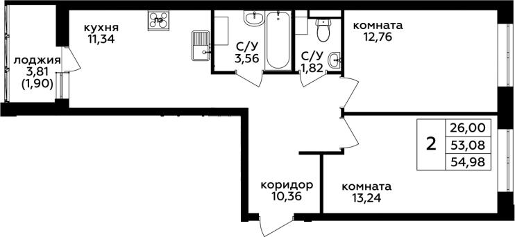 2-к.кв, 54.98 м²
