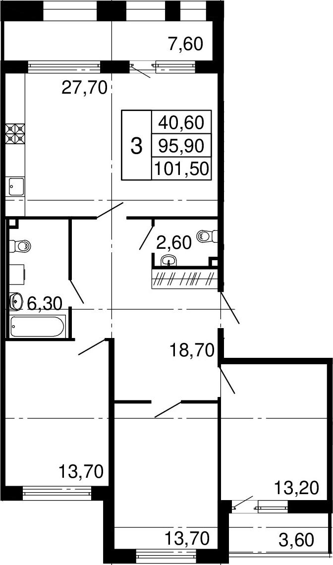 3-к.кв, 107.1 м²