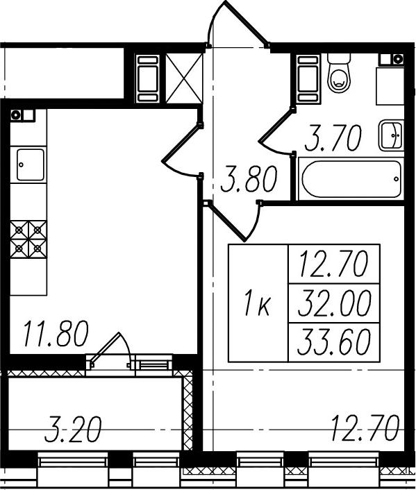 1-к.кв, 32 м²