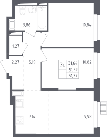 3Е-к.кв, 51.37 м²