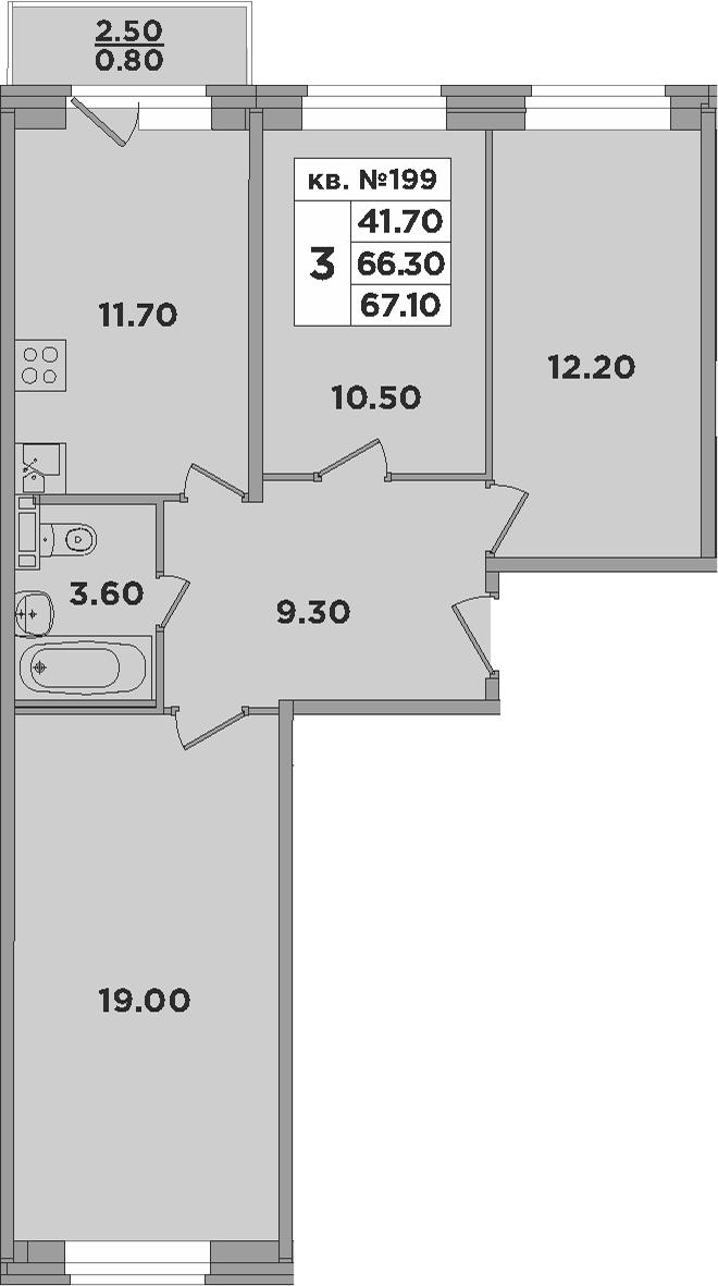 3-к.кв, 68.8 м²