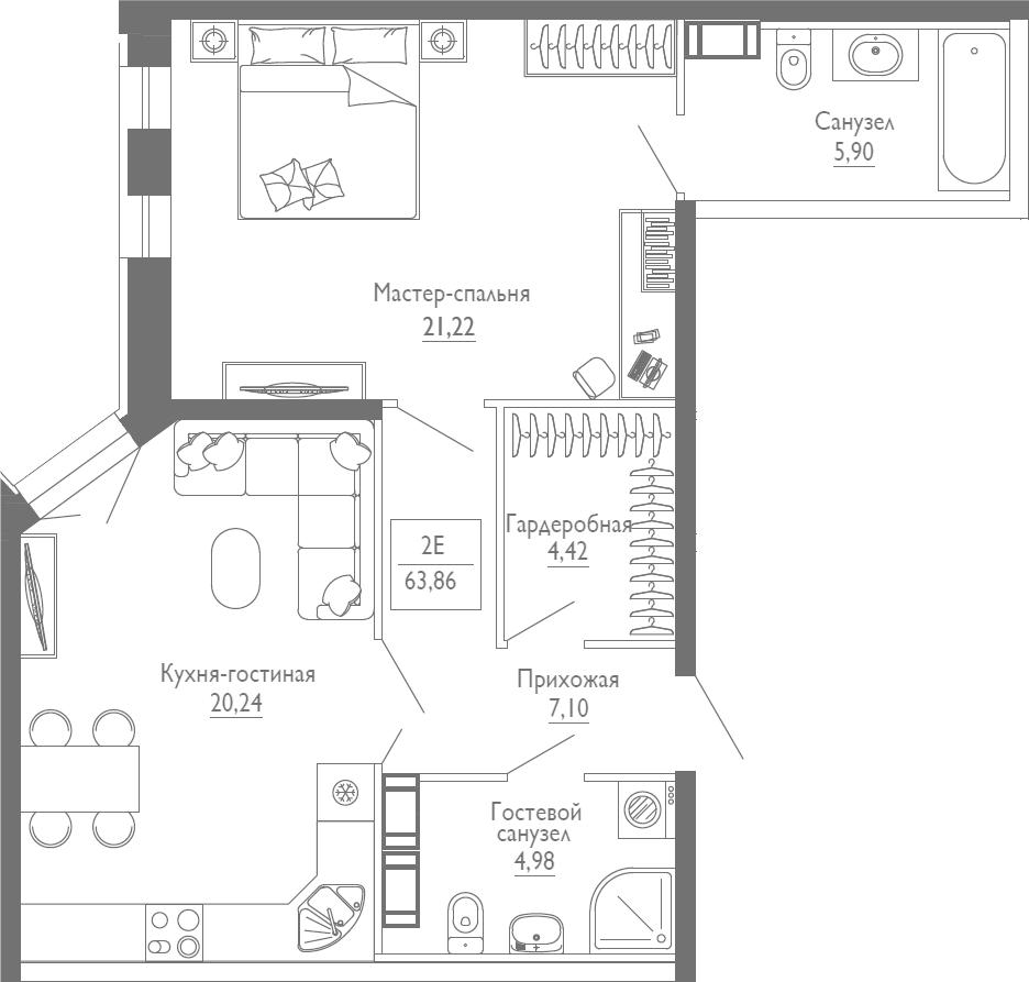 2Е-к.кв, 63.86 м², 3 этаж