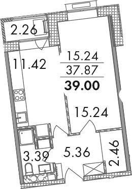 1-комнатная, 39 м²– 2
