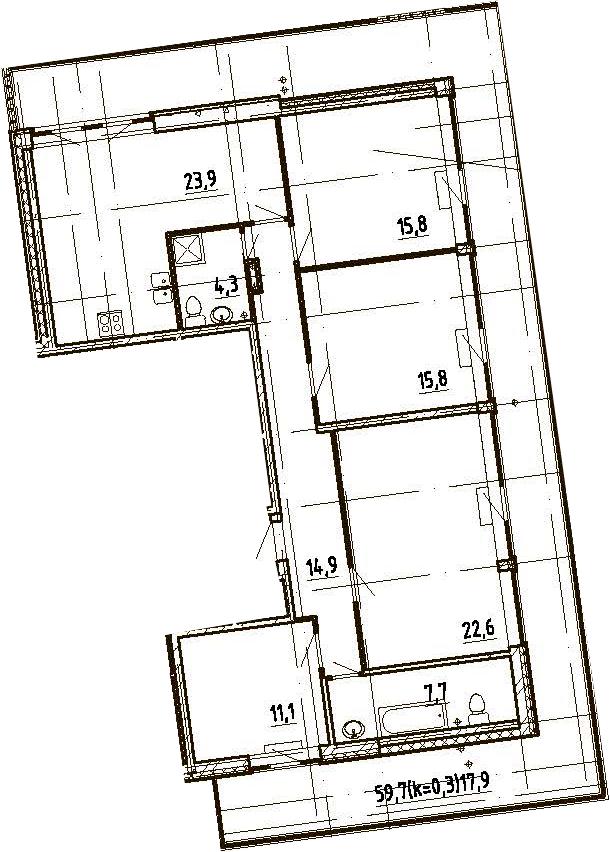 4Е-комнатная, 134 м²– 2